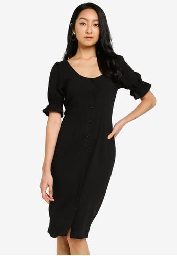 ZALORA BASICS black Puff Sleeve Button Down Dress BF025AA6802A93GS_1