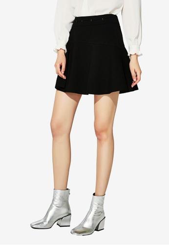 Hopeshow black High Waist Pleated Mini Skirt 5DAACAABD4DA01GS_1