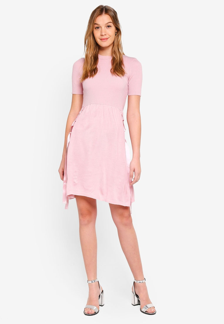Woven Flare Waist Fit LOST INK Blush Tie And Dress qwP6q1r