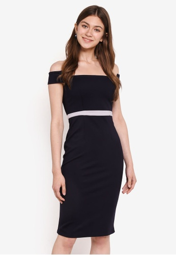 MDSCollections blue and navy Contrast Cutout Dress In Midnight 5C46CAAB84028CGS_1