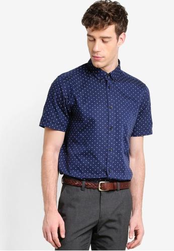Burton Menswear London navy Short Sleeve Navy Print Oxford Shirt BU964AA82XVDMY_1