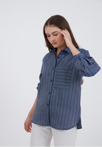 Berrybenka Label blue Priscilla Basic Tweed Shirt Blue A6A0BAA6CDBA88GS_1