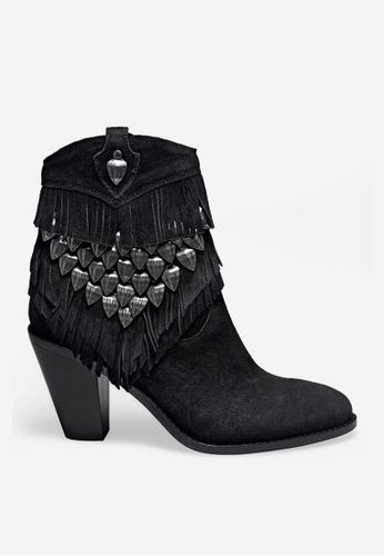 ASH 黑色 Iman - 黑色流蘇靴 E6A15SHEAE5C3FGS_1