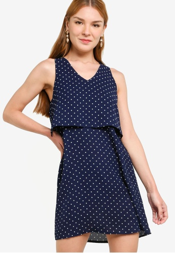 ZALORA WORK multi and navy V Neck Double Layer Mini Dress 0ED2CAA7951A98GS_1