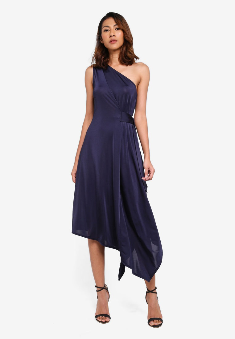Shoulder One Navy WAREHOUSE Asymmetric Dress 1dWwdqa