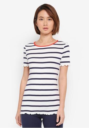 Dorothy Perkins white Ivory Striped Lettuce Edge T-Shirt DAB5FAAA1A1D2BGS_1