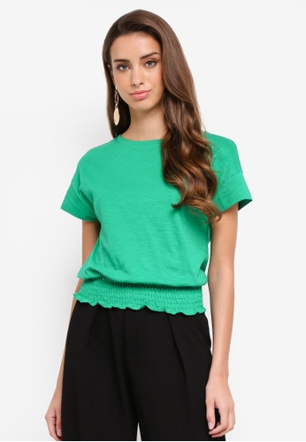 River Island green Shirred Hem T-Shirt 25571AAA65C2B4GS_1