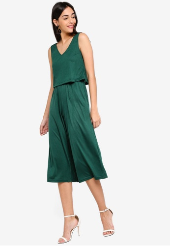 ZALORA green Basic Double Layer Jumpsuit A9BEFAAFCFEC23GS_1