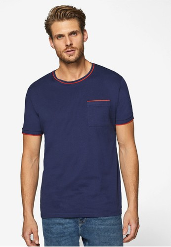 ESPRIT navy Short Sleeve Pocket T-Shirt 7FC6DAA606B2ADGS_1
