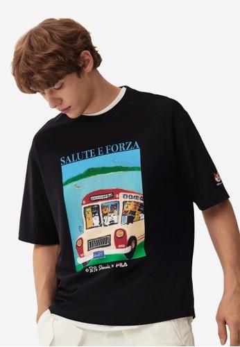 FILA black FILA x Pepe Shimada Unisex Cat Print Cotton T-shirt 94426AA5F6FCAAGS_1