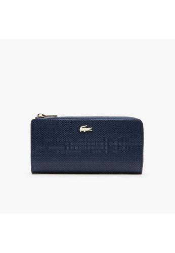 Lacoste navy Women's Chantaco Piqué Leather 8 Card Zip Wallet NF2071CE D37BBACF983DFFGS_1