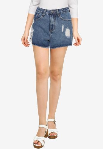 Nichii 藍色 High Rise Ripped Denim Shorts 986CEAA725EB64GS_1