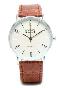 Unisex Chestnut Leather Strap Watch NYA3554