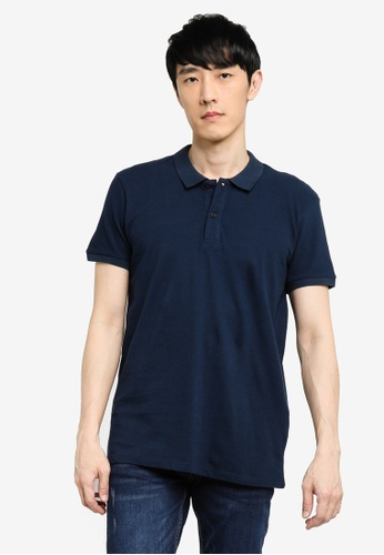 KOTON blue Short Sleeve Polo Shirt DC1CAAA57CFE72GS_1