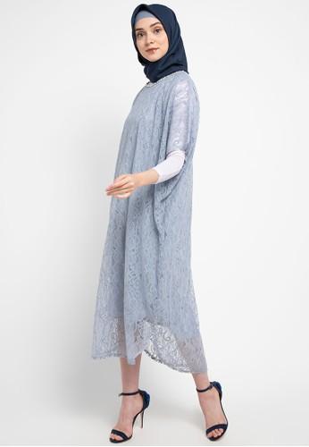 Chic Simple blue Shimmer Lace Kaftan W/ Xtal Chain 83F2EAAC8D22D6GS_1
