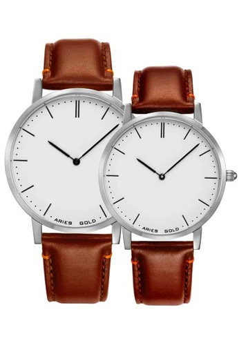 Aries Gold brown Aries Gold Couple Set -  Tango G 1007 & L 1008 S-W Silver and Brown Leather Watch 13849ACFE586A9GS_1