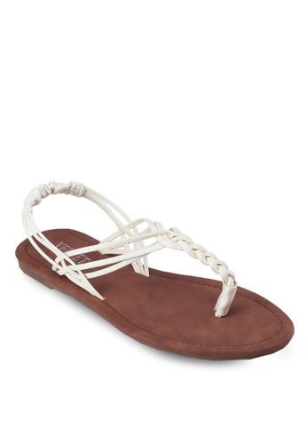 Ally 編織帶夾腳繞踝涼鞋, 女鞋,esprit台灣 涼鞋