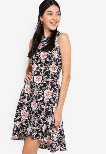 ZALORA black and multi Flounce Dress With Overlap Skirt 8C0A9AACFBB73BGS_1