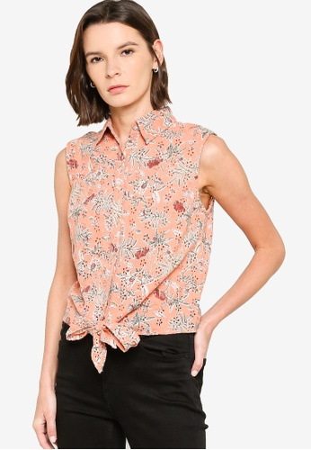 Brave Soul 粉紅色 Printed Broderie Button Top 306E6AA402FE79GS_1