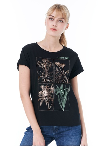 Sisley black Printed T-shirt 914B7AA9939633GS_1