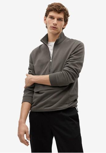 MANGO Man beige Zipper High Collar Sweater 8412CAAAFEAABCGS_1