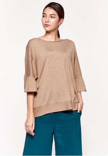 Sisley brown Sweater with Rouches A2304AA06BD9C2GS_1