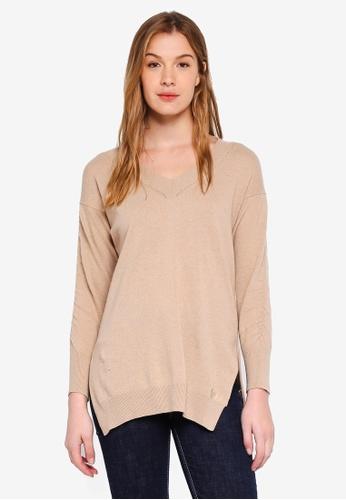 Guess brown Dana Side Slit Sweater Top 3689BAA8681B6DGS_1