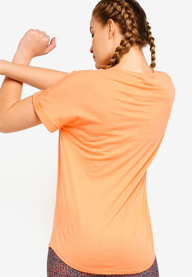 Dropped Shoulder Body T Slogan Naturally Peach On Cotton Shirt Chalky n1C7gv7wx