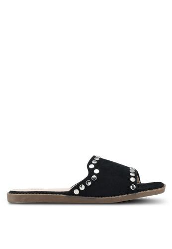 Nose 黑色 鉚釘飾拖鞋 CD717SH9623AE5GS_1