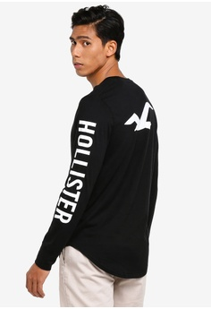 bdd4985cf73a Hollister black Long Sleeve Iconic Logo T-Shirt 59DA1AACB676F6GS_1