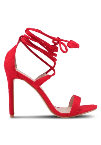 Public Desire red Venus Heart Detail Tie Up Barely There Heels 9C120SH770082FGS_1