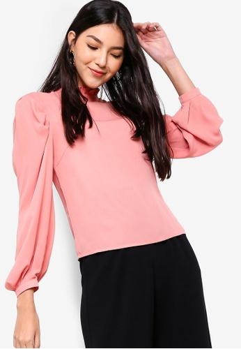 ZALORA pink Ruffle Collar Blouse 6656DAAA290147GS_1