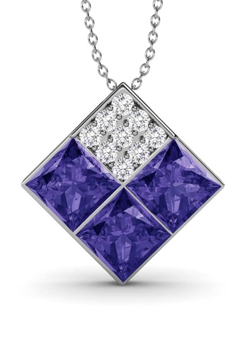 Her Jewellery purple and silver Square Pendant (Purple) - Made with premium grade crystals from Austria 9C1EEACA2C3E87GS_1
