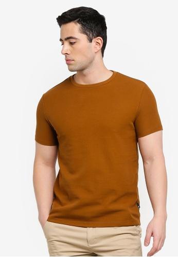 Burton Menswear London brown Tobacco Brown Waffle Textured T-Shirt 91473AA0BA7CCBGS_1