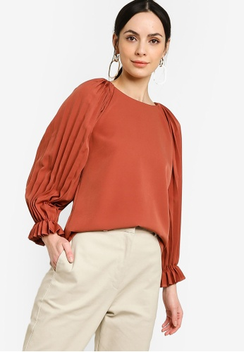 Zalia brown Pleated Sleeves Round Neck Top 4530CAA934A077GS_1