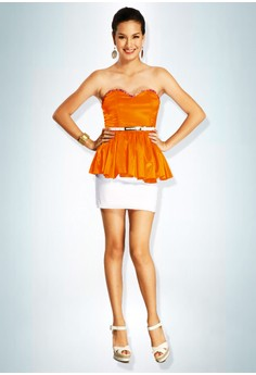 Devidasi Orange Sweetheart Peplum Top