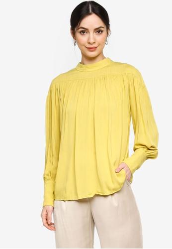 ZALIA BASICS yellow Gather Wide Cuff Blouse C6FB7AAA6C4797GS_1