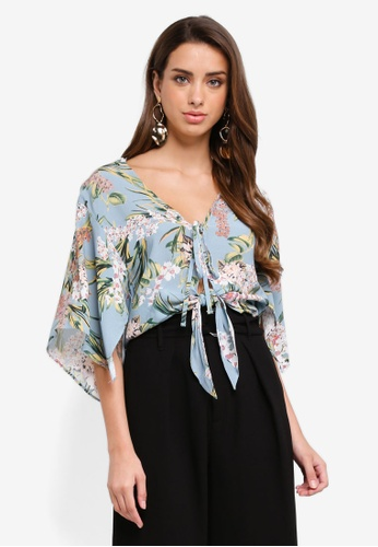 River Island blue Floral Cape Tie Front Crop Top 83698AA9A8B0CEGS_1