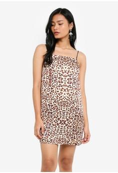 細肩帶豹紋短洋裝