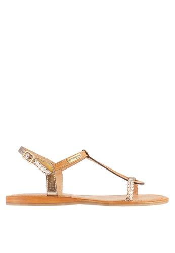 Les Tropeziennes Par M. Belarbi yellow Hatress Honey Gold Cross Ankle Leather Sandals F91EASH88C0A22GS_1