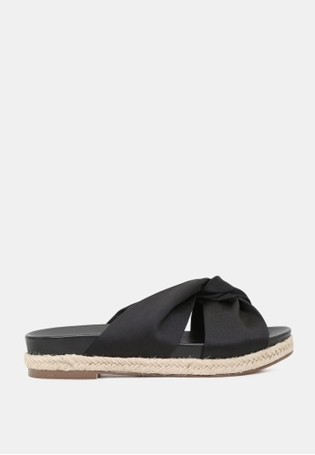 London Rag black Flatform Rope Sandals 196AESH1B30F26GS_1