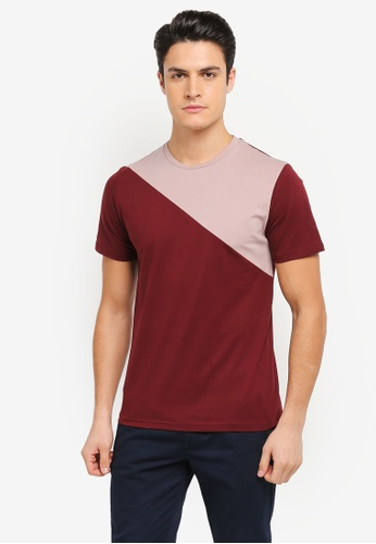 ZALORA red and pink and multi Asymmetrical Slice Tee 26497AA76384E4GS_1
