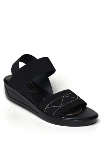 Ohrelle black Chicko Garterized Demi-Wedge Sandals by Floppies by Ohrelle 345AESH063D043GS_1