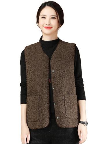A-IN GIRLS brown Faux Lamb Wool Vest Jacket 9971BAADE8F7DBGS_1