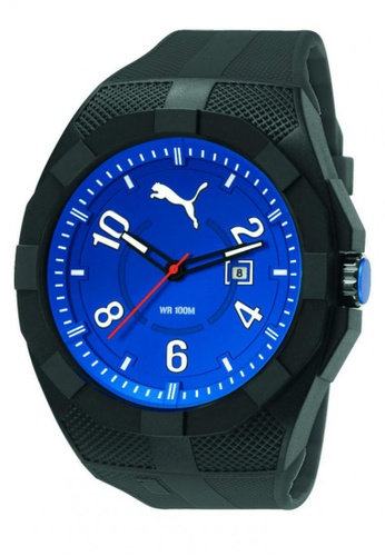 Puma Watches black PU103501008 Iconic Black Blue PU Strap Men Watch PU549AC0RJVUMY_1
