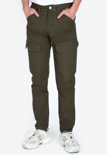 ZALORA BASICS green Slim Fit Cargo Jeans CDE98AA77241E3GS_1