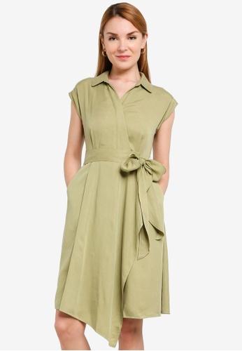 Hopeshow green Asymmetrical Hem Front Wrap Dress 38A50AAD8C3C3DGS_1