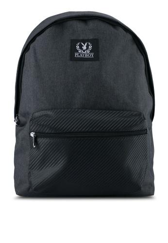Playboy black Playboy Backpack With USB Charging Port PL371AC0SK0OMY_1