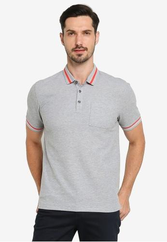 G2000 grey Bold Stripe Collar Polo Shirt 221F4AA2B2285FGS_1