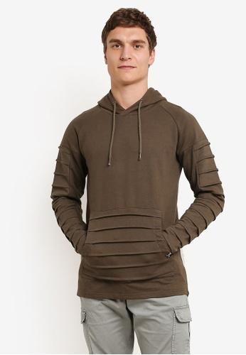 Indicode Jeans 綠色 Garden Grove Pleated Asymmetrical Zipped Sweatshirt IN815AA0ROLZMY_1